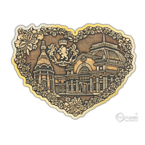 Магнит из бересты вырезной Красноярск-Коллаж сердце золото