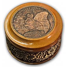 Шкатулка деревянная круглая с накладками из бересты Красноярск-Белка 70х46