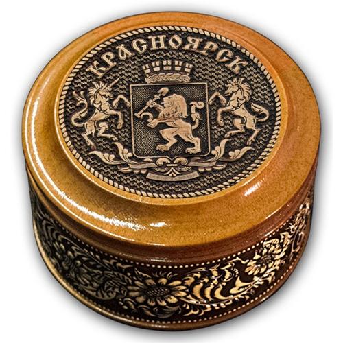 Шкатулка деревянная круглая с накладками из бересты Красноярск-Герб  70х46