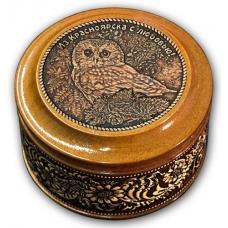 Шкатулка деревянная круглая с накладками из бересты Красноярск-Сова 70х46