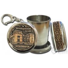 Стопка-брелок Красноярск-Краеведческий музей с накладкой из бересты