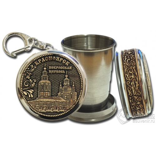 Стопка-брелок Красноярск-Покровская церковь с накладкой из бересты