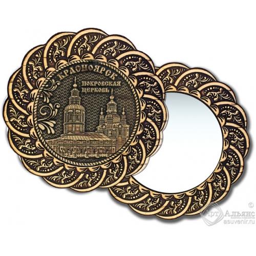 Зеркало из бересты Вернисаж без ручки Красноярск-Покровская церковь