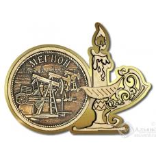 Магнит из бересты Мегион-Качалка свеча золото