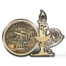 Магнит из бересты Мегион-Качалка свеча серебро