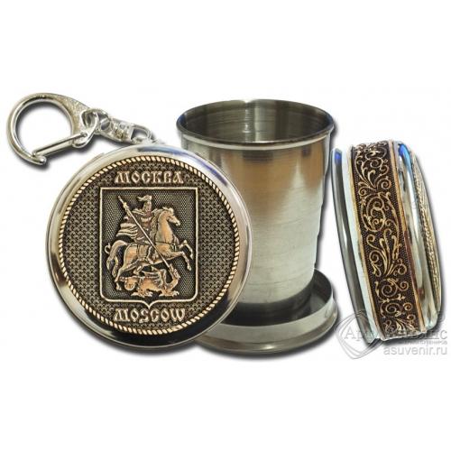 Стопка-брелок Москва-Герб с накладкой из бересты