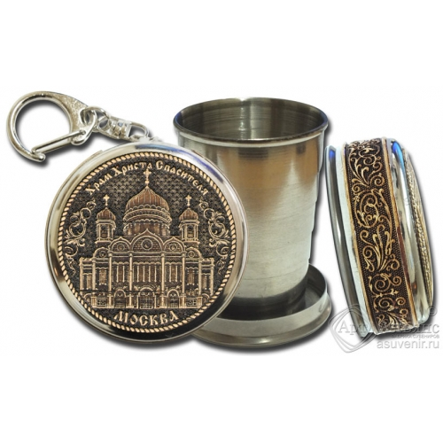 Стопка-брелок Москва-Храм Христа Спасителя с накладкой из бересты