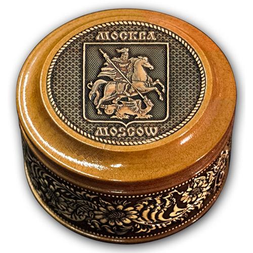 Шкатулка деревянная круглая с накладками из бересты Москва-Герб 70х46