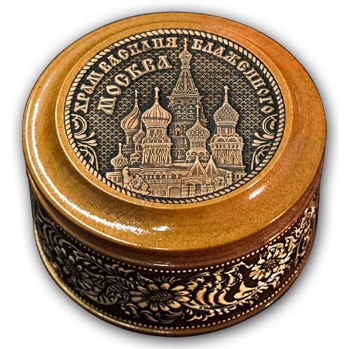 Шкатулка деревянная круглая с накладками из бересты Москва-Храм Василия Блаженного 70х46