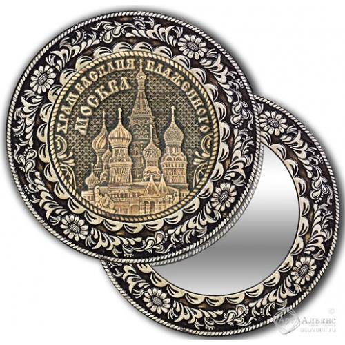 Зеркало круглое без ручки Москва-Храм Василия Блаженного
