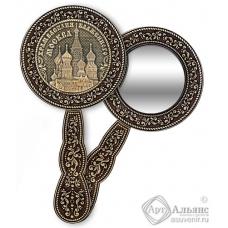 Зеркало круглое с ручкой Москва-Храм Василия Блаженного