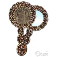 Зеркало из бересты Вернисаж с ручкой Москва-Храм Христа Спасителя