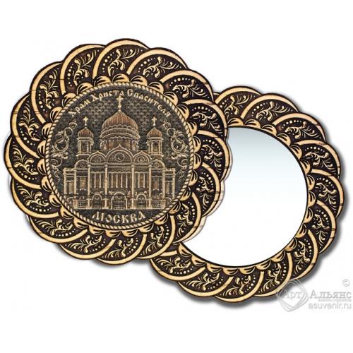 Зеркало из бересты Вернисаж без ручки Москва-Храм Христа Спасителя