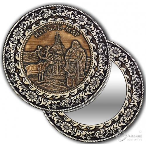 Зеркало круглое без ручки Нарьян-Мар-Чум и олень