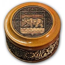 Шкатулка из бересты Нефтеюганск-Герб 70х46