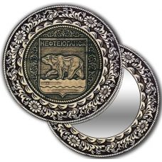 Зеркало круг из бересты с накладкой Нефтеюганск-Герб