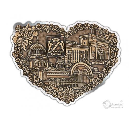 Магнит из бересты вырезной Новосибирск-Коллаж сердце серебро В-27581