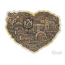 Магнит из бересты вырезной Новосибирск-Коллаж сердце золото
