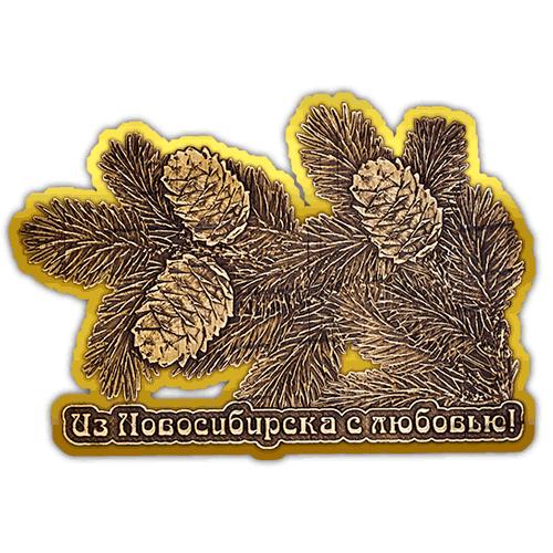 """Магнит из бересты вырезной Новосибирск """"Шишки"""" (Золото) В-22350"""
