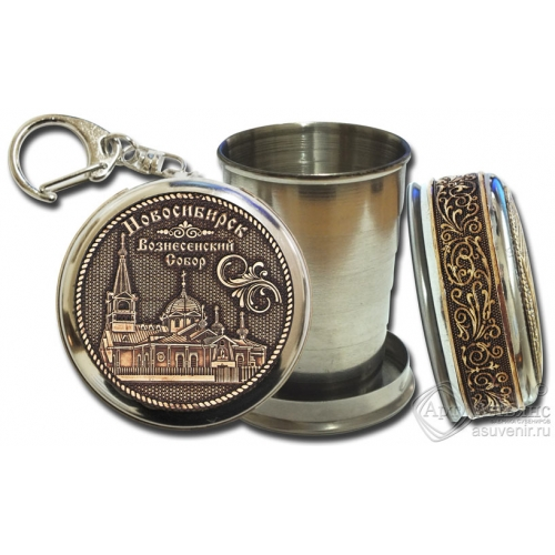 Стопка-брелок Новосибирск Вознесенский собор с накладкой из бересты