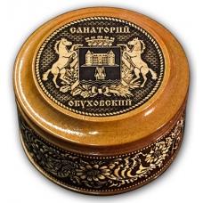 Шкатулка деревянная круглая с накладками из бересты Обуховское-Герб  70х46