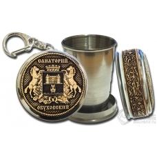 Стопка-брелок Обуховское-Герб с накладкой из бересты