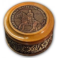 Шкатулка деревянная круглая с накладками из бересты Оренбург-Памятник Казачеству 70х46