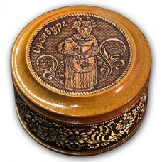 Шкатулка деревянная круглая с накладками из бересты Оренбург-Коза 70х46