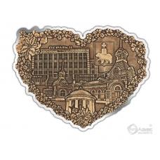Магнит из бересты вырезной Пермь-Коллаж сердце серебро