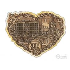 Магнит из бересты вырезной Пермь-Коллаж сердце золото