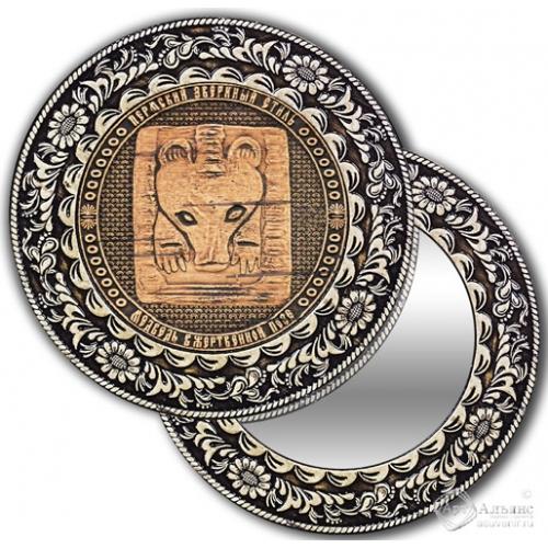 Зеркало круглое без ручки Пермь-Медведь в жертвенной позе