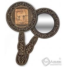 Зеркало круглое с ручкой Пермь-Медведь в жертвенной позе