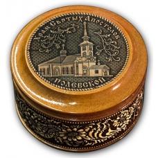 Шкатулка деревянная круглая с накладками из бересты Полевской-Храм Святых Апостолов 70х46