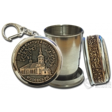 Стопка-брелок Полевской-Храм Святых Апостолов с накладкой из бересты