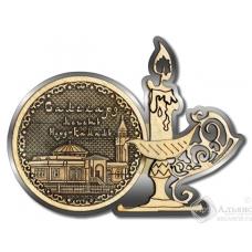 Магнит из бересты Салехард-Мечеть Нурд-Камал свеча серебро
