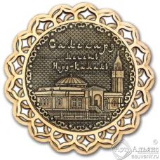 Магнит из бересты Салехард-Мечеть Нурд-Камал купола дерево