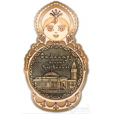 Магнит из бересты Салехард-Мечеть Нурд-Камал матрешка золото