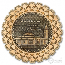 Магнит из бересты Салехард-Мечеть Нурд-Камал снежинка золото