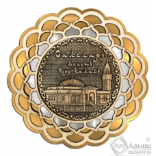 Магнит из бересты Салехард-Мечеть Нурд-Камал Купола 3-х слойная