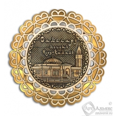 Магнит из бересты Салехард-Мечеть Нурд-Камал кружево 3-х слойная