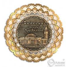 Магнит из бересты Салехард-Мечеть Нурд-Камал снежинка 3-х слойная