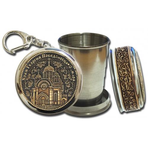 Стопка-брелок Самара-Храм Георгия Победоносца с накладкой из бересты