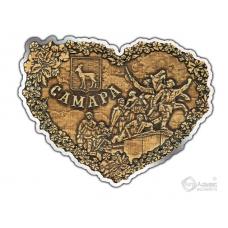 Магнит из бересты вырезной Самара-Коллаж сердце серебро