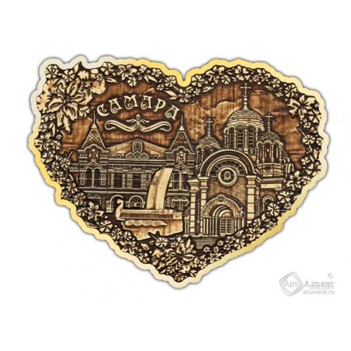 Магнит из бересты вырезной Самара-Коллаж сердце золото