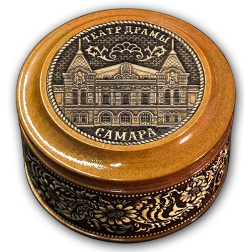 Шкатулка деревянная круглая с накладками из бересты Самара-Драм Театр 70х46