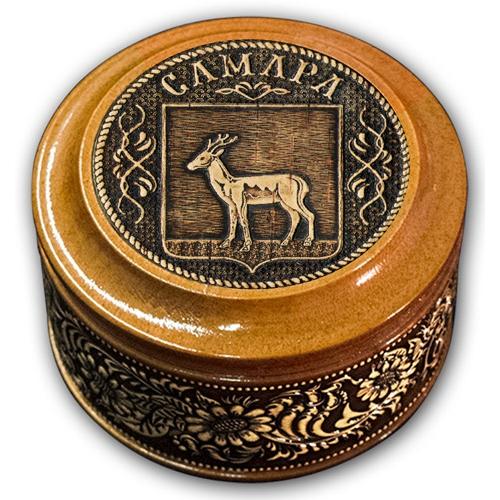 Шкатулка деревянная круглая с накладками из бересты Самара-Герб 70х46