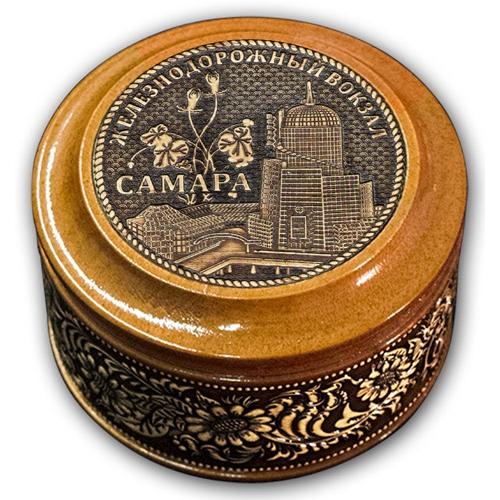 Шкатулка деревянная круглая с накладками из бересты Самара-ЖД вокзал 70х46