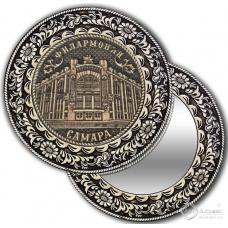 Зеркало без ручки круг из бересты с накладкой  Самара-Филармония