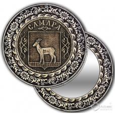 Зеркало без ручки круг из бересты с накладкой  Самара-Герб