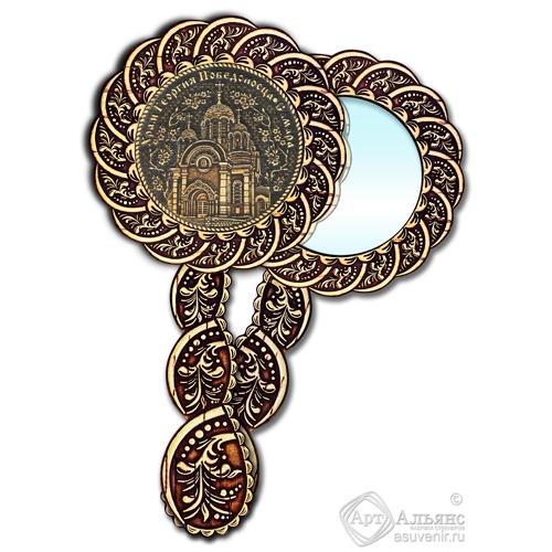 Зеркало из бересты Вернисаж с ручкой берестяной накладкой Самара-Храм Георгия Победоносца